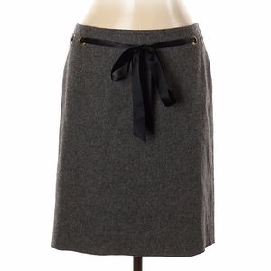 Blumarine I 46 US 10 Gray Virgin Wool Belted Skirt